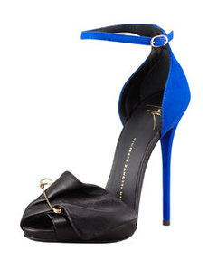 Safety Pin Leather & Suede Sandal, Black/Blue   Safety Pin Leather & Suede Sandal, Black/Blue