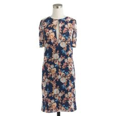 Silk dress in antique floral