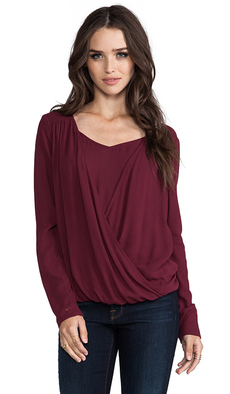 Ella Moss Stella Long Sleeve Top in Burgundy