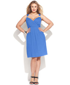 INC International Concepts Plus Size Surplice-Neck Hardware Dress