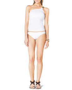 One-Shoulder Tankini Top with Hardware   One-Shoulder Tankini Top with Hardware