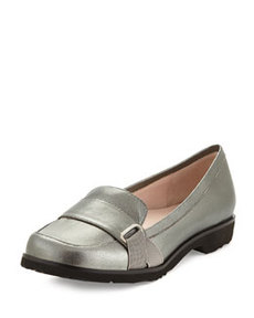 Taryn Rose Jaz Metallic Napa Leather Loafer, Pewter