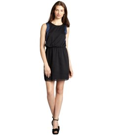Marc New York black and cornflower georgette two-tone blouson dress