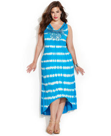 INC International Concepts Plus Size Tie-Dye Sequined Maxi Dress
