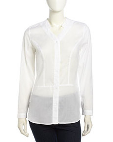 Laundry by Shelli Segal Long-Sleeve Lightweight Voile Blouse, Optic White
