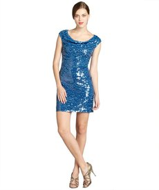 Marc New York capri sequined mesh draped neck part dress