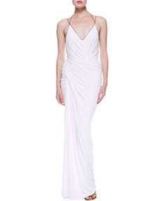 Plunge V Draped Evening Gown, White   Plunge V Draped Evening Gown, White