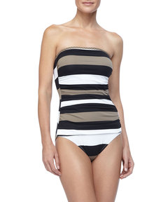 Tommy Bahama Rugby Striped Bandeau One Piece