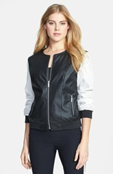 Kenneth Cole New York Two-Tone Perforated Faux Leather Bomber Jacket