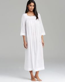 Oscar de La Renta Signature Sheer Serenity Cotton Long Nightgown
