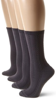 Jones New York Women's Chain Link Textured 2 Pack Crew Socks