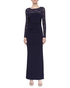 Laundry by Shelli Segal Lace Matte Jersey Gown, Inkblot