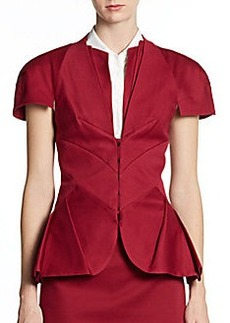 Zac Posen Pleated Peplum Jacket