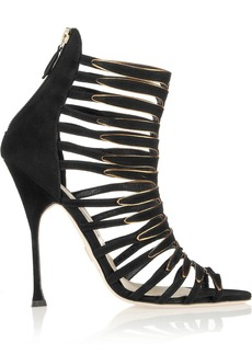 Brian Atwood Malie metallic-trimmed suede sandals