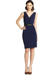 Elie Tahari navy pleated surplice 'Virginia' sleeveless dress