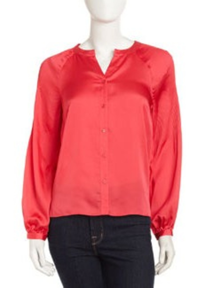 Laundry by Shelli Segal Pleat-Sleeve Satin Blouse, Geranium