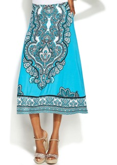 INC International Concepts Petite Printed A-Line Skirt