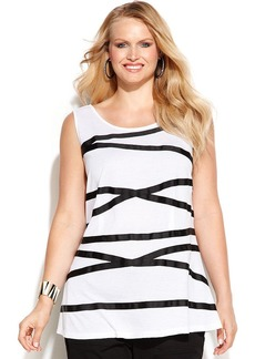 INC International Concepts Plus Size Sleeveless Ribbon-Trim Top