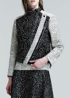 Proenza Schouler Asymmetric Squiggle-Print Calf Hair Jacket