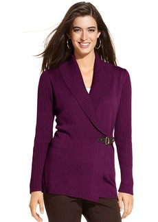 Charter Club Petite Sweater, Shawl-Collar Buckle Cardigan
