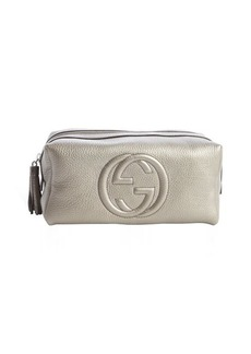 Gucci grey leather 'Soho' large cosmetic pouch