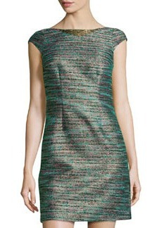 Laundry by Shelli Segal Cap-Sleeve Shimmer-Woven Dress, Emerald Multi