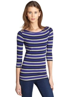 French Connection electric purple striped 3/4 sleeve top