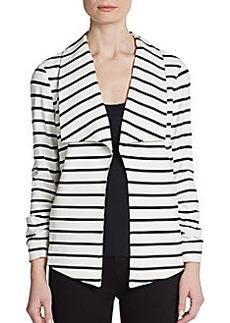 Saks Fifth Avenue BLACK Ruched-Sleeve Ponte Jacket