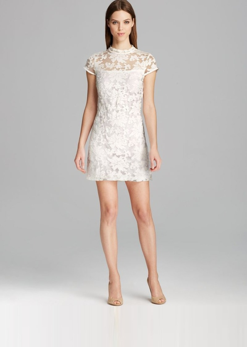 Cynthia Steffe Dress - Elsele Stand Collar Illusion Neck Lace Shift