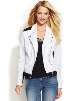 INC International Concepts Colorblock Cotton-Blend Moto Jacket
