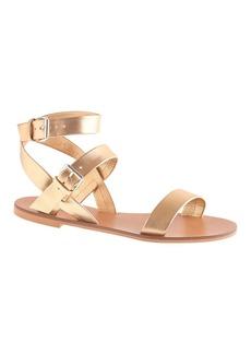 Leila metallic ankle-wrap sandals
