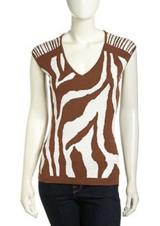 Lafayette 148 New York Cap-Sleeve Zebra Jacquard Sweater, Coconut
