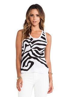 Central Park West Corfo Asymmetric Hem Tank in Black & White