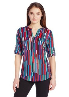 Calvin Klein Women's Printed Crew Roll-Sleeve Shirt