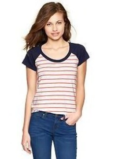 Striped slub baseball T