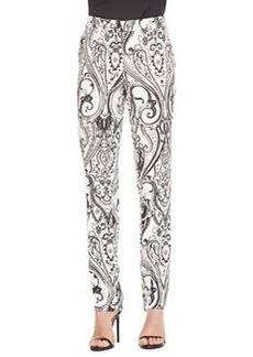 Etro Paisley-Print Cady Pants, Black/White