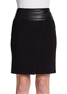 Saks Fifth Avenue BLACK Faux Leather-Trimmed Ponte Skirt