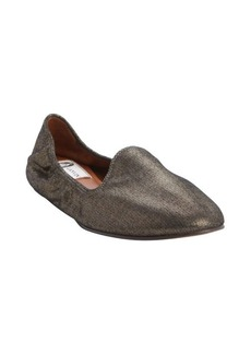Lanvin bronze leather metallic finish loafers