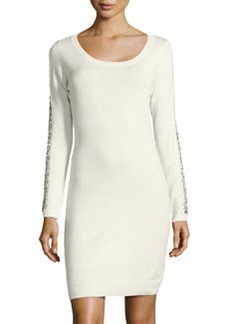 Marc New York by Andrew Marc Bead-Embellished Knit Sweaterdress, White