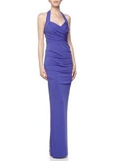 Nicole Miller Sleeveless Halter Ruched Crepe Gown, Cobalt
