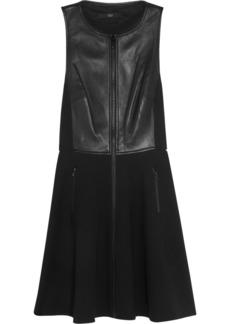 Tibi Leather-paneled ponte dress