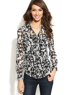 INC International Concepts Printed Button-Front Shirt