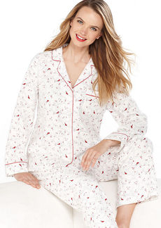 Charter Club Petite Holiday Lane Flannel Notch Collar Pajama Set