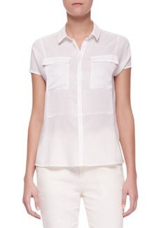 J Brand Ready to Wear Nyberg Georgette Short-Sleeve Blouse