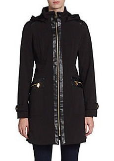 Via Spiga Hooded Zip-Front Sateen Coat