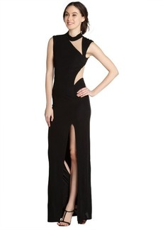 A.B.S. by Allen Schwartz black and nude illusion cutout gown