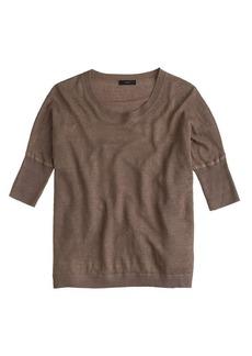 Linen drop-shoulder swing sweater in garment dye