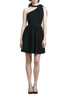 Shoshanna One-Shoulder Dress with Bow, Black (Stylist Pick!)