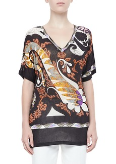 Etro V-Neck Short-Sleeve Knit Top, Black/Multi