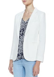 Joie Mehira Linen Notch-Collar Blazer, White